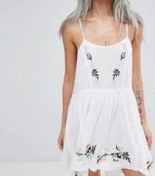 photo Floral Cross Stitch Embroidered Strappy Beach Sundress by ASOS PETITE, color White - Image 3