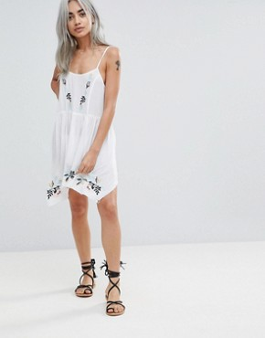 photo Floral Cross Stitch Embroidered Strappy Beach Sundress by ASOS PETITE, color White - Image 4
