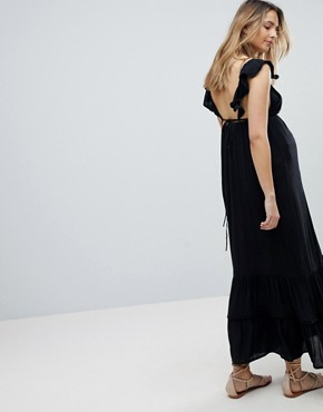 photo Floral Cross Stitch Embroidered Maxi Beach Dress with Pompom Trim by ASOS Maternity, color Black - Image 2