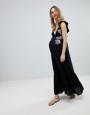 photo Floral Cross Stitch Embroidered Maxi Beach Dress with Pompom Trim by ASOS Maternity, color Black - Image 1