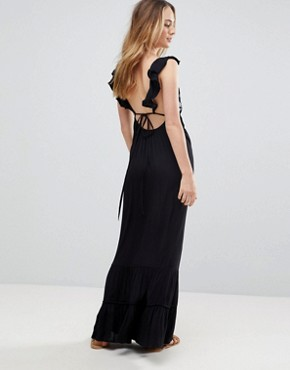 photo Floral Cross Stitch Embroidered Maxi Beach Dress with Pompom Trim by ASOS TALL, color Black - Image 2