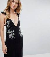 photo Floral Cross Stitch Embroidered Maxi Beach Dress with Pompom Trim by ASOS TALL, color Black - Image 3