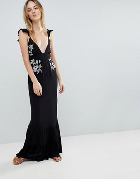 photo Floral Cross Stitch Embroidered Maxi Beach Dress with Pompom Trim by ASOS TALL, color Black - Image 4