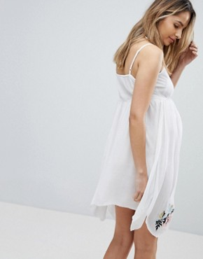 photo Floral Cross Stitch Embroidered Strappy Beach Sundress by ASOS Maternity, color White - Image 2