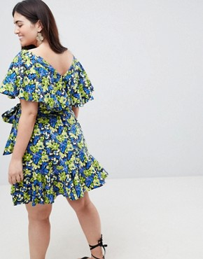 photo Cotton Ruffle Sundress in Floral Print by ASOS CURVE, color Floral - Image 2