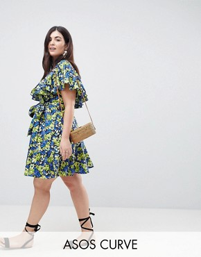 photo Cotton Ruffle Sundress in Floral Print by ASOS CURVE, color Floral - Image 1