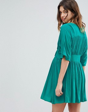 photo Casual Mini Tea Dress in Crinkle with Bow by ASOS Maternity, color Green - Image 2