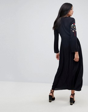 photo Embroidered Maxi Dress by ASOS TALL, color Black - Image 2
