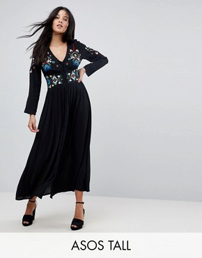 photo Embroidered Maxi Dress by ASOS TALL, color Black - Image 1