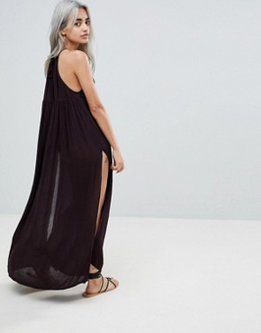 photo Crochet Panel Maxi Beach Dress by ASOS PETITE PREMIUM, color Black - Image 2