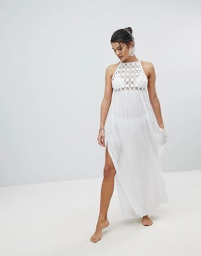 photo Crochet Panel Maxi Beach Dress by ASOS PREMIUM, color White - Image 1