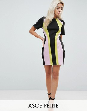 photo Colourblock Mini Shift Dress by ASOS PETITE, color Multi - Image 1