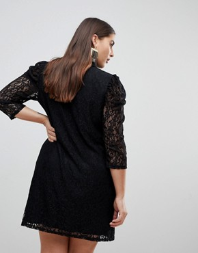 photo Lace Mini Dress with Puff Sleeves by ASOS CURVE, color Black - Image 2