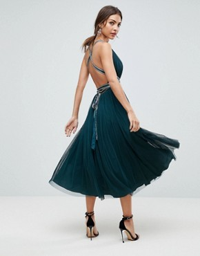 photo Tulle Midi Prom Dress with Embellished Ribbon Ties by ASOS PREMIUM, color Teal - Image 2