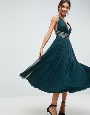 photo Tulle Midi Prom Dress with Embellished Ribbon Ties by ASOS PREMIUM, color Teal - Image 1