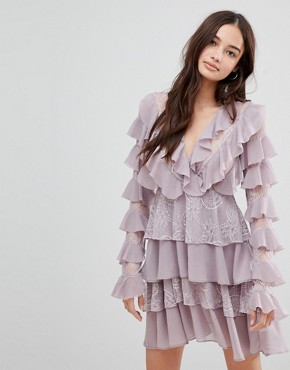 photo Frill Skater Dress by Glamorous, color Dusty Lilac - Image 1