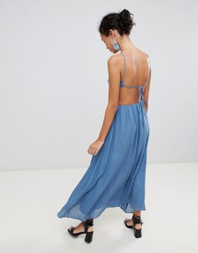 photo Cut Out Cami Maxi Dress by Glamorous, color Denim Blue - Image 2