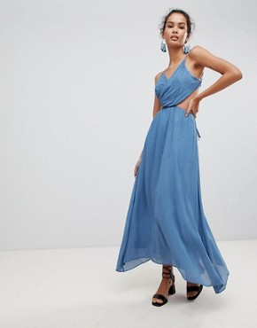 photo Cut Out Cami Maxi Dress by Glamorous, color Denim Blue - Image 1