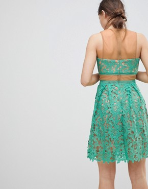 photo Lace Skater Dress by Glamorous, color Mint - Image 2