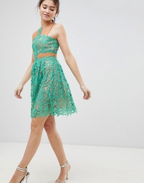 photo Lace Skater Dress by Glamorous, color Mint - Image 1