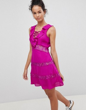 photo Lace Up Dress with Frill by Glamorous, color Purple - Image 1