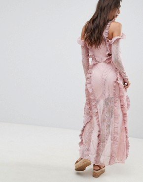 photo Cold Shoulder Frill Maxi Dress by Glamorous, color Dusty Pink - Image 2