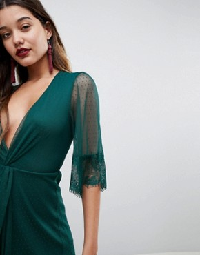 photo Dobby Knot Front Lace Trim Mini Skater Dress by ASOS, color Forest Green - Image 3