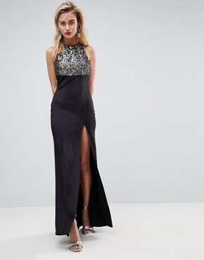 photo Sequin Bodice Strappy Back Fishtail Maxi Dress by ASOS, color Silver/Black - Image 2