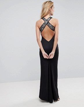 photo Sequin Bodice Strappy Back Fishtail Maxi Dress by ASOS, color Silver/Black - Image 1
