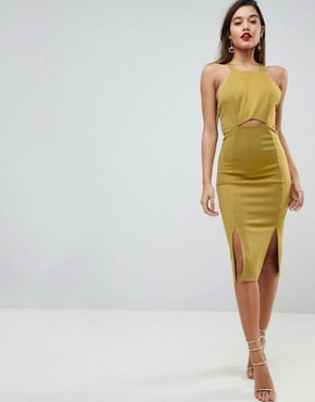 photo Strappy Back Midi Bodycon Dress by ASOS, color Chartreuse - Image 2