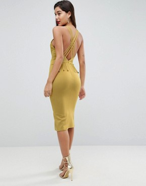 photo Strappy Back Midi Bodycon Dress by ASOS, color Chartreuse - Image 1