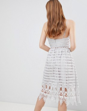photo Crochet Skater Midi Dress by Glamorous, color Silver - Image 2