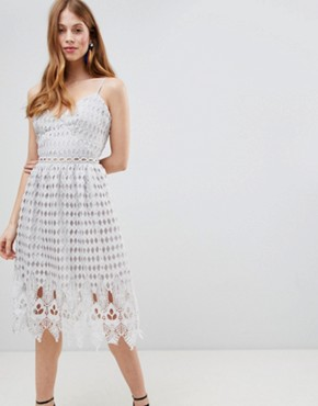 photo Crochet Skater Midi Dress by Glamorous, color Silver - Image 1