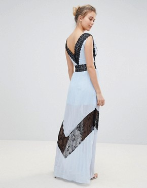 photo Lace Insert Maxi Dress by Glamorous, color Icy Blue Black - Image 2