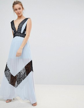 photo Lace Insert Maxi Dress by Glamorous, color Icy Blue Black - Image 1