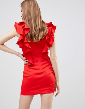 photo Frill Choker Neck Dress by Glamorous, color Red - Image 2