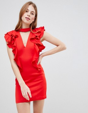 photo Frill Choker Neck Dress by Glamorous, color Red - Image 1
