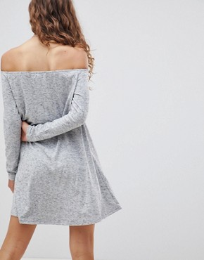 photo Off Shoulder Swing Dress by Glamorous, color Grey Marl - Image 2