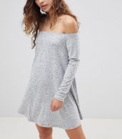 photo Off Shoulder Swing Dress by Glamorous, color Grey Marl - Image 1
