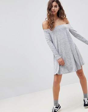 photo Off Shoulder Swing Dress by Glamorous, color Grey Marl - Image 4
