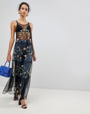 photo Embroidered Mesh Maxi Dress by Glamorous, color Black - Image 1