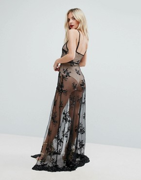 photo Sheer Sequin Lace Maxi Dress with Bodysuit by NaaNaa Petite, color Black/Nude - Image 2