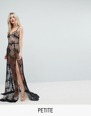 photo Sheer Sequin Lace Maxi Dress with Bodysuit by NaaNaa Petite, color Black/Nude - Image 1
