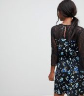 photo Lace Yoke and Sleeve Floral Skater Dress by Influence, color Black Floral - Image 2