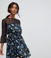photo Lace Yoke and Sleeve Floral Skater Dress by Influence, color Black Floral - Image 1