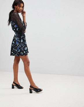 photo Lace Yoke and Sleeve Floral Skater Dress by Influence, color Black Floral - Image 4