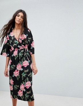 photo Floral Print Wrap Midi Dress with Flared Sleeve by Influence, color Black Floral - Image 1