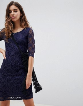 photo Lace Midi Dress by Glamorous, color Navy - Image 1