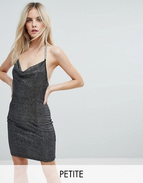 photo Cowl Front Glitter Mini Dress by NaaNaa Petite, color Black - Image 1