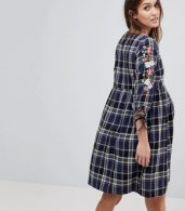 photo Check Embroidered Smock Dress by New Look Maternity, color Blue Pattern - Image 2